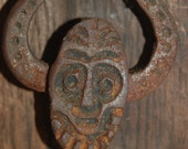 Wonderful Whimsical Hand Cast Iron Face Doorknocker by Mead's Art Works on Reclaimed Wood Display ~ Iron Doorknocker ~ Rustic ~ Cabin