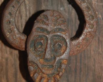 Wonderful Whimsical Hand Cast Iron Face Doorknocker by Mead's Art Works on Reclaimed Wood Display ~ Iron Doorknocker ~ Rustic ~ Cabin