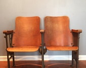 Theater Seats. Movie Theater Chairs. Entryway Furniture. Wood. Iron. Folding Cinema Seats. Industrial Furniture Decor. Rustic Modern. Bench.