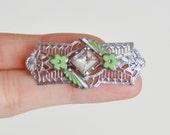 Vintage 20s Art Deco Rhinestone Pin / 1920s Filigree Rhodium Plated Enamel Pin