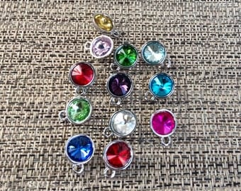 1 - Sturdy add on faceted glass birthstone for Keychains, you pick, personalize