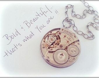 Vintage Watch Mechanism Necklace