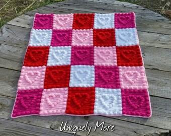 Textured Blanket – Custom Heart Baby Blanket – Heart Crochet Crib Blanket, Stroller Blanket, Security Blanket – Baby, Toddler – Your Colors