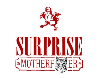 Ridiculous Flapping Chick - Funny, Offensive Letterpress Card - MATURE Language - Surprise, Motherf***er!
