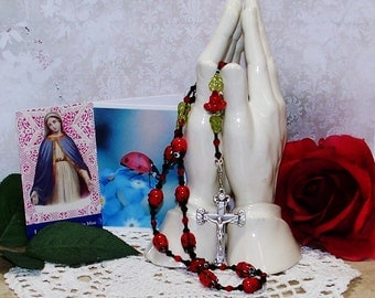 Ladybug Rosary for a Young Lady - One Decade Catholic Rosary - Confirmation, Holy Communion Gift