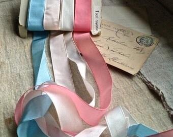Vintage Satin & Grosgrain Tapes. Blue, Pink White Ribbons / Vintage Trim. 10 yards / Millinery Ballet Dolls NOS