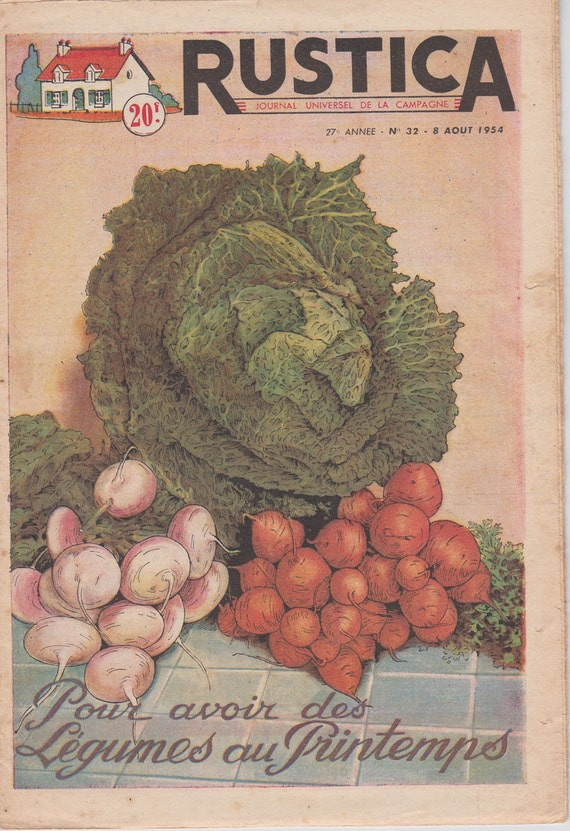 Vintage French Gardening Magazine With A Vegetable Print As