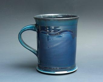 Pottery coffee mug, ceramic mug, stoneware tea cup navy blue 18 oz 3520