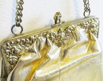 40% OFF SALE Vintage 1960's Shiny METALLIC Gold Handbag Purse