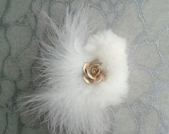 HALF OFF VALENTINES Sale White Hair Clip / Brooch pin Dual Use Marabou feathers w upcycled Chinchilla Fur accented w Gold Flower Rose - Wedd