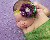 Parade Party- Mardi Gras inspired green purple and gold sequin headband bow