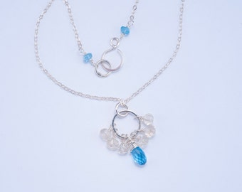 Swiss Blue Topaz and Oregon Champagne Sunstone Circle Necklace