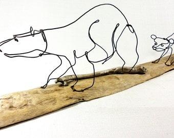 Bear and Cubs Wire Sculpture, Bear Art, Minimal Sculpture, 455816070