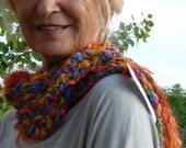 Women Fashion / Original Orange Crochet Scarf / Women Winter Accessories / Colorado Clothing / Bohemian Accessories