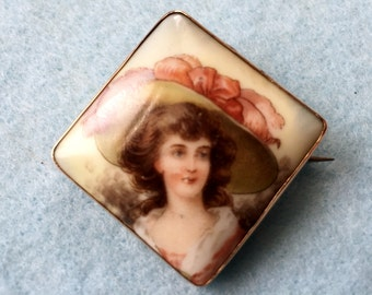 Victorian Brooch 12K Gold Hand Painted Porcelain Gainsborough Girl