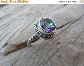 ON SALE Mystic topaz ring in sterling silver