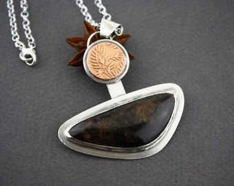 Obsidian pendant with textured copper moon, sterling silver necklace