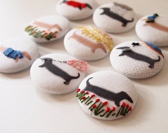 Dachshund Embroidered Sewing Buttons Handmade Large Embroidered Buttons 38mm