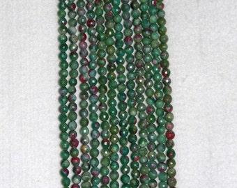 Ruby, Ruby in Fuschite, Faceted Bead, Natural Stone, Semi Precious, Gemstone, Strand, 5mm