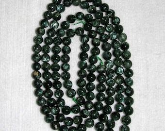 Seraphinite, Smooth Seraphinite, Seraphinite Bead, Natural Stone, Round Bead, Gemstone, SemiPrecious, Green Stone, Half Strand, 8mm, Russia