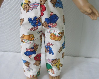 American Girl Pajama Pants.  18 inch doll Teddy Bear print Pajama pants. Sleeping Bears Sleep pants for Boy or Girl doll