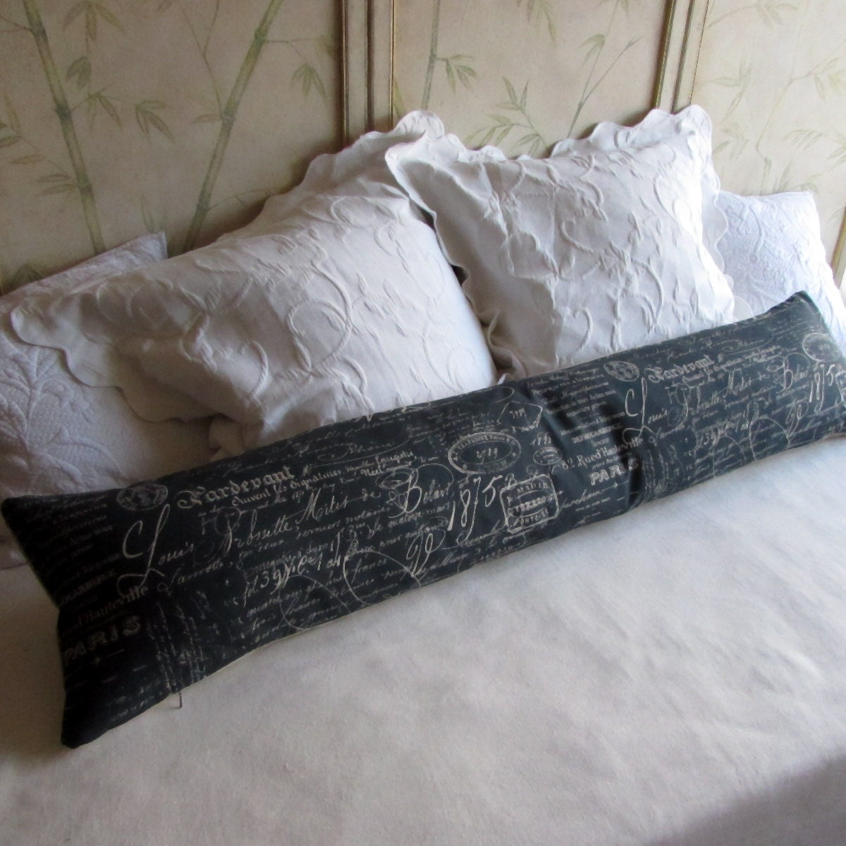 French Script Long Decorative Bolster Pillow 12x54