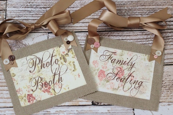 Wedding signs - Chair signs - Decorations - Family seating sign - Photo booth sign - Burlap - Rustic - Wedding photo prop - Weddings - Boho