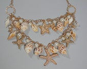 """17"""" Elegant Natural Sea Shell Bib Necklace Multi Layer Gold Color Chain Link Starfish Pearled Cluster Beach Wedding Seaside Anniversary Gift"""