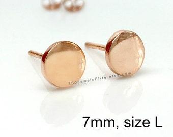 Men's stud earrings, space coral stud earrings, rose gold stud earrings, fake plugs, fake gauge earrings, 7mm Nail it Down 420 7SR