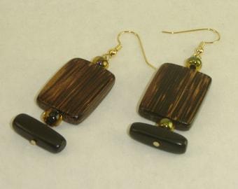 Wood Rectangle Bead Earrings