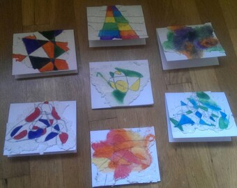 7 Handmade Paper Geometric Watercolor Paintings Blank Cards note cards with gorgeous scribble and geometric paintings
