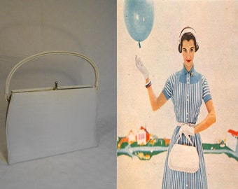 Purely White Party Pops  - Vintage 1950s Theodor White Textured Vinyl Handbag