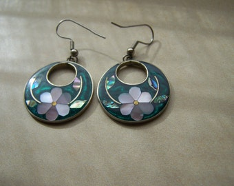 Mexico Silver Inlaid Mother of Pearl Abalone Alpaca Dangle Pierced Earrings