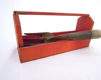 vintage red wooden tool caddy.trug.basket.tray.child's toy.birthday gift.tessiemay vintage