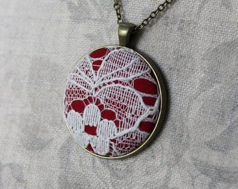 Red and White Necklace (Ivory Shade), Gift for Women, Unique Jewelry With Lace, Red Bridesmaid, Red Necklace, Boho Wedding, Large Pendant