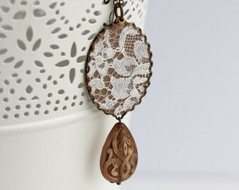 Lace Teardrop Necklace, Rustic Jewelry, Boho Necklace, Brown, Copper, Ivory, Bohemian Jewelry, Floral Hippie Pendant, Oval Cotton Necklace