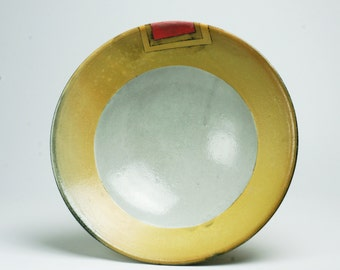 Low Serving Bowl with Pink and Yellow Color Blocking