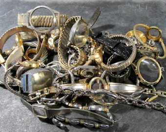 Watches for Parts or Repair Twenty Five (25) Assorted Watch Bands Cases No Guts Some Crystals Jewelry Art Watch Repair Supplies (F117)
