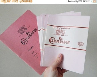 SALE 20% french school supplies vintage calligraphy paper and book