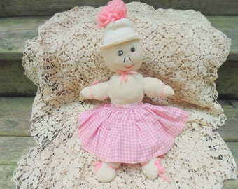 Sock Doll. RAG DOLL. Antique Rag Doll. Antique Sock Doll. Primitive Doll. Handmade Baby Doll. 50s Doll. 1950s Doll. Baby Doll. gift idea.