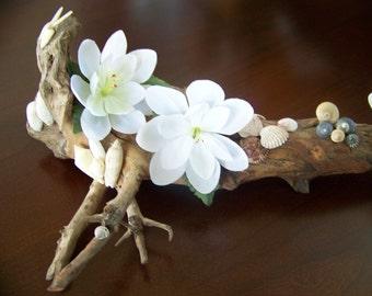 Natural Driftwood & Seashell Sculpture - Butterflies/Snails/Silk Flowers - Home/Beach Decor - 3 d Accent Piece - Handmade Original
