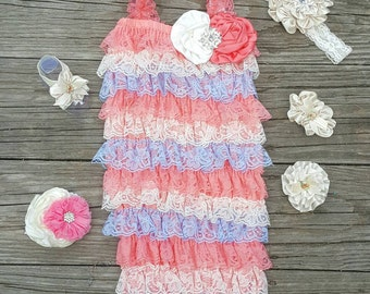 Lace Romper Baby Romper Lace Petti Romper 1st Birthday Outfit Petti Lace Romper Toddler Romper Girls Romper Pink Peach Romper Newborn Romper