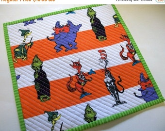 CIJ SALE Halloween Grinch Mug Rug Snack Mat Dr. Seuss and Friends Quiltsy Handmade Quilted Reversible FREE U.S. Shipping