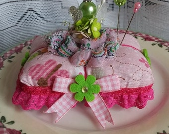 Pink Butterfly Print Lime Green Rectangle Pin Cushion