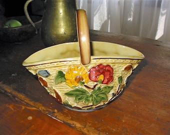 H J Wood Indian Tree English Staffordshire Art Pottery Basket Old English Hand Painted Basket Vase Planter