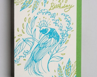 "Letterpress card,  ""Happy Birthday (Bird of paradise)!"""