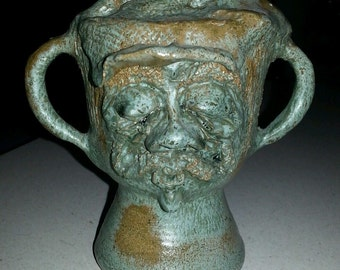 Vintage NC North Carolina Pottery Handmade Hipster Face w/ Handles Green Glaze