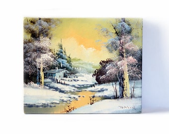 Vintage Painting | Canvas Painting | Wall Art | Landscape | Winter | Snow