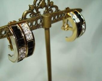 1980s Large Gold Tone Jeweled Earrings.