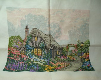 1992 Counting Cross Stitch of an English Cottage with Thatched Roof and Gardens.